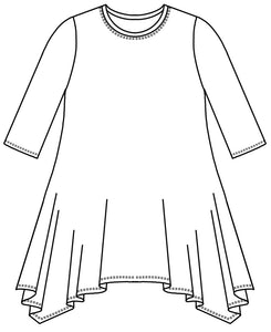 drawing of a top with a round neckline, 3/4 sleeves and a hankerchief hemline