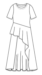 flat drawing of a tunic with an asymetrical hi-lo skirt