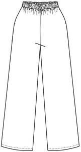 flat drawing of elastic waist pants