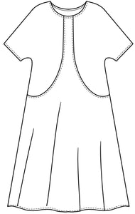 flat drawing of a tunic with a center strap up to the neckline