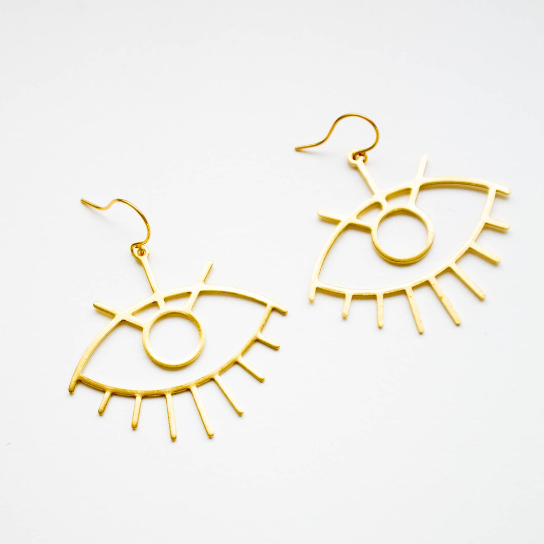Dangle earrings shaped like eyes in brass