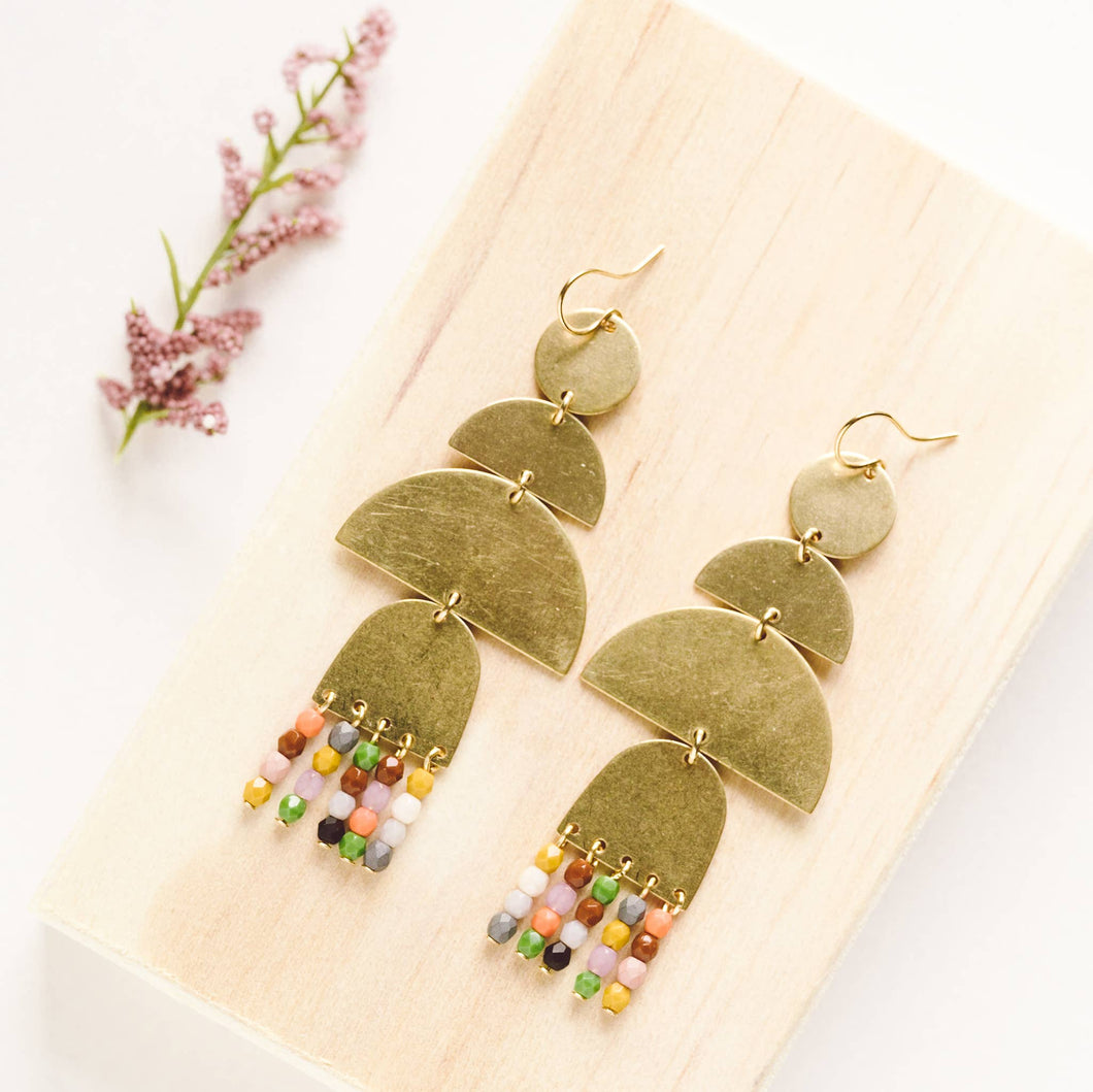 Long Statement Brass and bead  Earrings