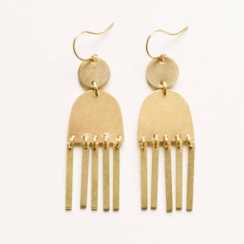 A pair of brass hanging earrings with brass fringe detail.