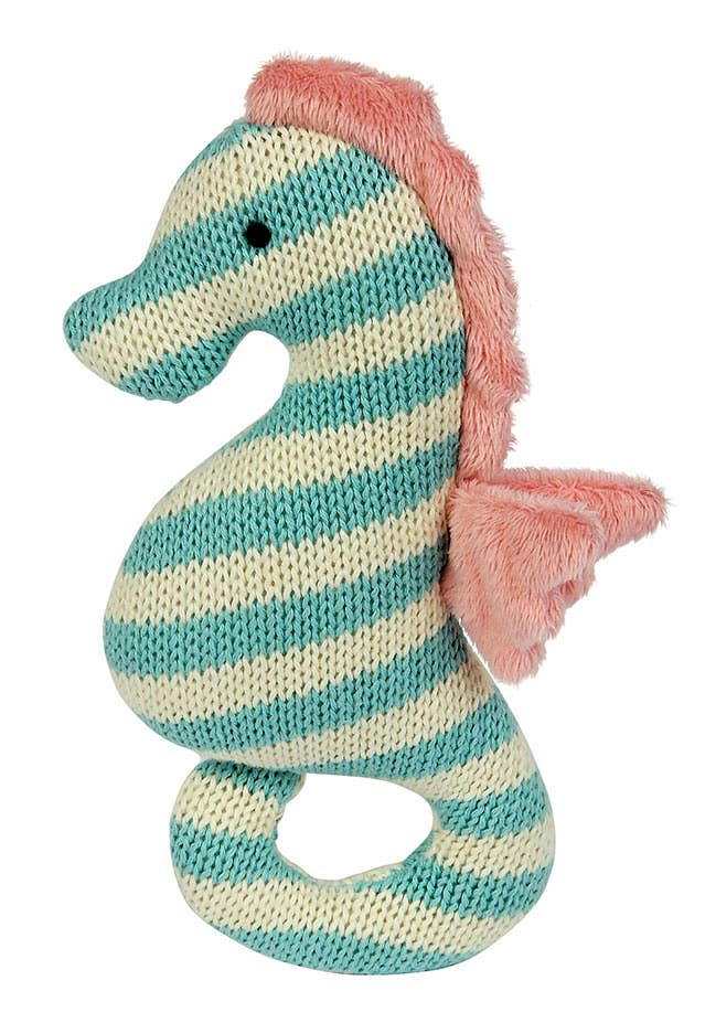 aqua and cream stripe knit seahorse rattle toy with pink mane