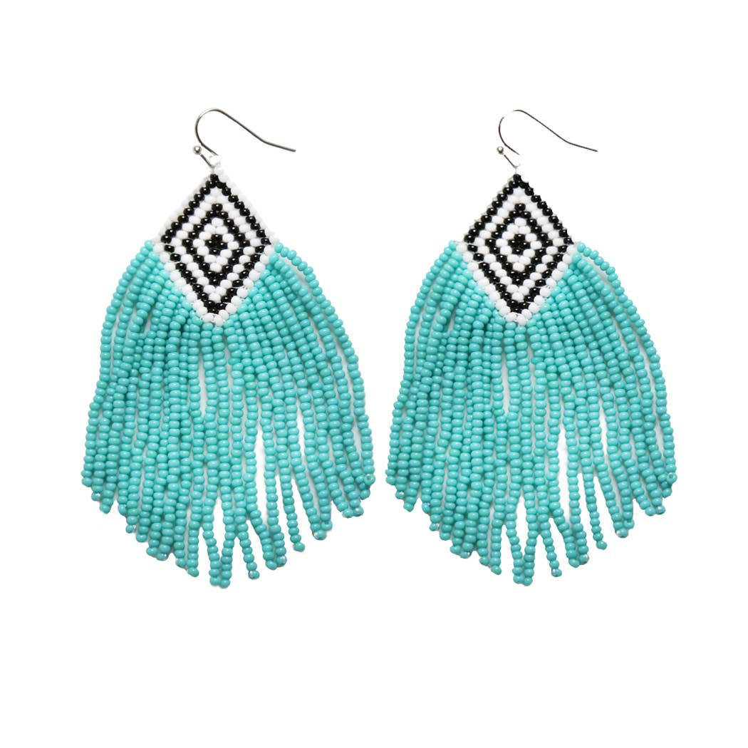 blue beaded tassle earrings with a black and white base