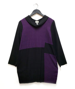 black and aubergine colorblocked tunic with a cowl neck