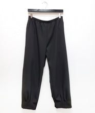 Load image into Gallery viewer, black straight leg pant with a dart detail at the ankle hem