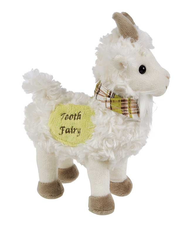 close up of cream furry goat plush toy with taupe hooves and horns. Wearing a green, white and brown plaid bandana around its neck. Yellow pocket on side of toy says