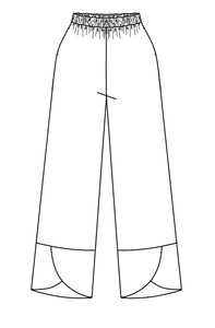 drawing of an elastic waist pant with pockets and a wide hemline with an overlapped tulip shaped detail