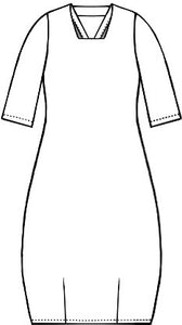drawing of a shift dress with 3/4 sleeves and a squared neckline