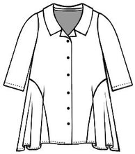 Load image into Gallery viewer, drawing of a buttoned blouse with 3/4 sleeves and a flowy body