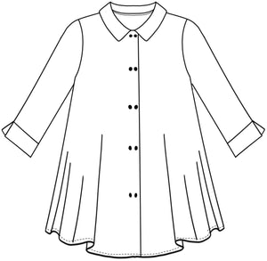 flat drawing of a long button up top