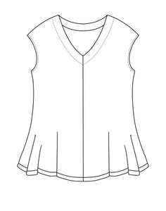 drawing of a vneck top with a cap sleeve and center front seam.