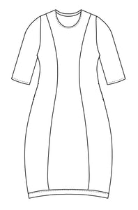 illustration of a shift dress with elbow length sleeves, a contrasting band at the hem, and princess seams down the front and back.