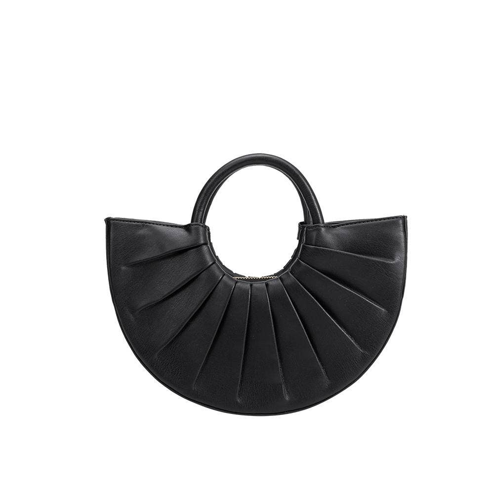 black half circle handbag with a short handle