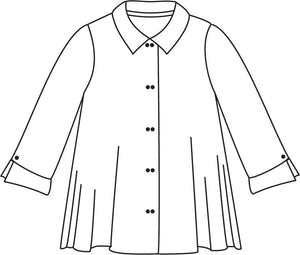 drawing of a button down blouse with 3/4 sleeves and twin horizontal buttons.
