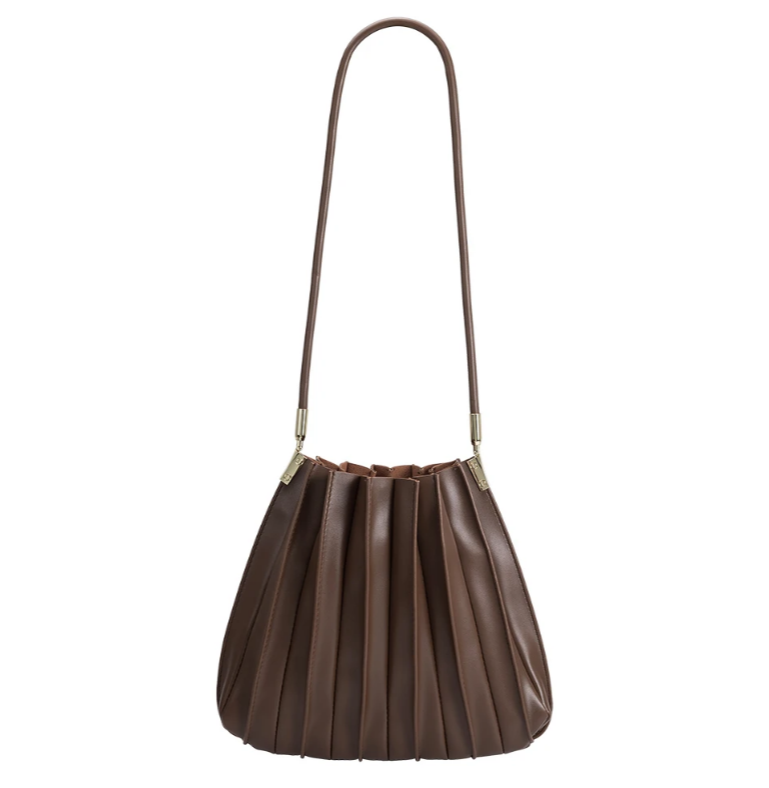 rounded chocolate  handbag with a long strap and a pleated detail