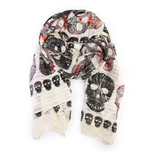 Load image into Gallery viewer, black and multicolored skulls printed on an ivory scarf