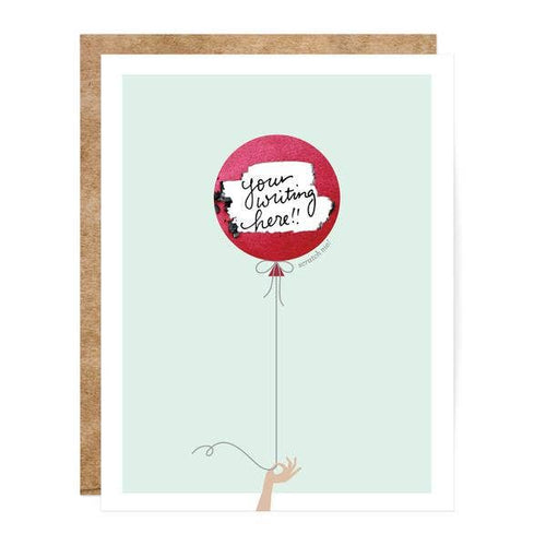 mint color card with a red ballon and text