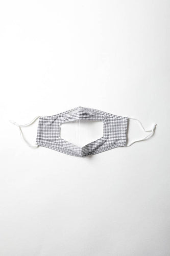 gingham facemask with a clear window in at the mouth