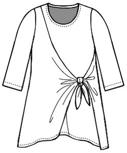 drawing of a pullover top with an asymmetrical princess seam with a tie at the waist