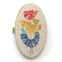 Load image into Gallery viewer, embroidery hoop with a multi color bird design