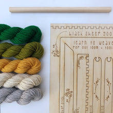 Load image into Gallery viewer, bundles of yarn with a wooden loom kit