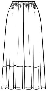 flat drawing of wide leg pants with contrast hem