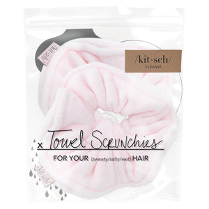 two blush towel scrunchies in a package