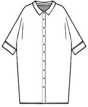 Load image into Gallery viewer, flat drawing of a button up cocoon style shirt dress