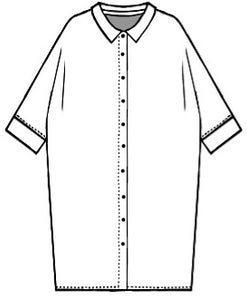 flat drawing of a button up cocoon style shirt dress