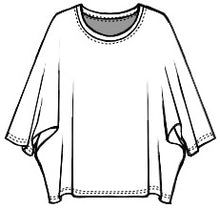 Load image into Gallery viewer, drawing of a boxy pullover top with a dolman style sleeve