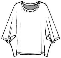drawing of a boxy pullover top with a dolman style sleeve
