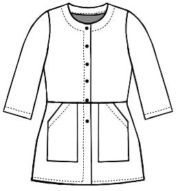 flat drawing of a button up jacket with pockets attached from the waist line