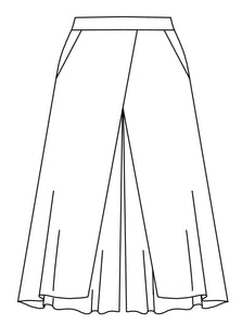 flat drawing of pants with a front overlay