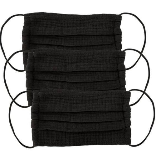 close up of 3 black cotton masks with elastic loops against a white background