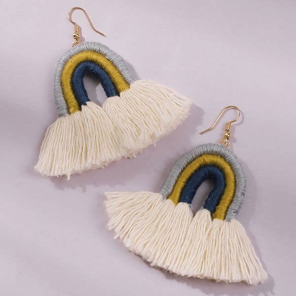 blue, white and yellow rainbow earrings made of wrapped thread