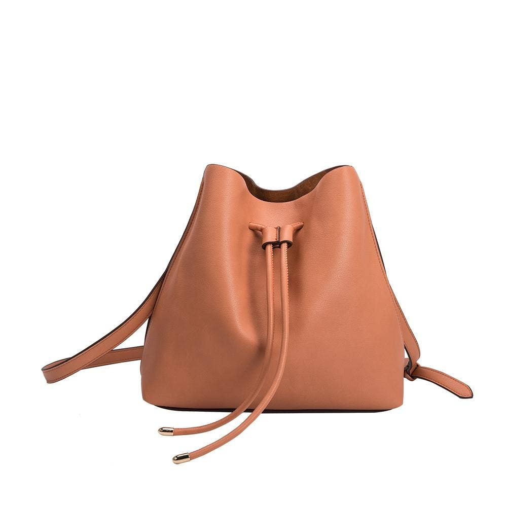 peach handbag with a drawstring closure