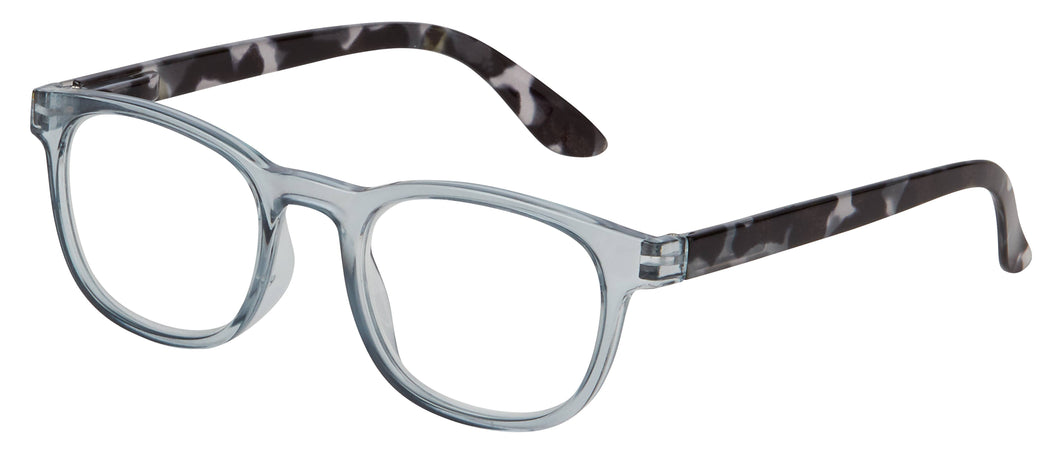 Pictured against a white background are glasses that feature a grey clear frame and black and white tortoise legs.