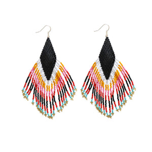 beaded earrings with a black base with a multicolored tassle fringe. Against  white background