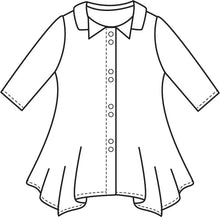 Load image into Gallery viewer, flat drawing of a button up top with a hankerchief hem and a double collar