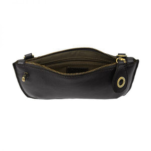 open view of a black leather clutch