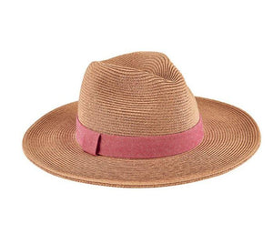 "Woven natural straw fedora hat with a 3"" brim and pink band."
