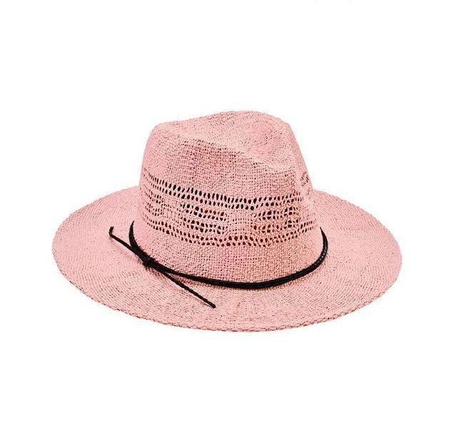 Pale pink straw fedora hat with black leather band featured against white background.