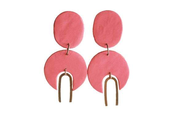 pink geometric earrings with brass color trim