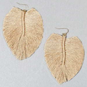 soft pink feather shaped earring made from shaped thread