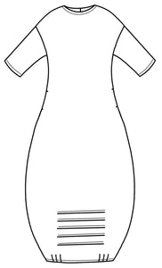 flat drawing of a dropped shoulder tunic with pleat detail at the bottom