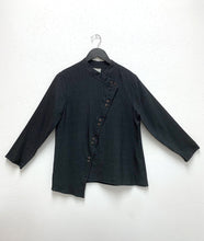 Load image into Gallery viewer, black button up blouse with an asymmetrical placket and a twin button up the front