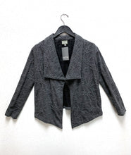 Load image into Gallery viewer, grey jacket in a web print knit. jacket has a draped large collar and long sleeves, and the body hem is lower in the front center than the rest of the body