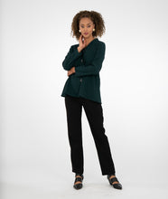 Load image into Gallery viewer, model in a dark green button up blouse with a slim, straight leg black pant, in front of a white background